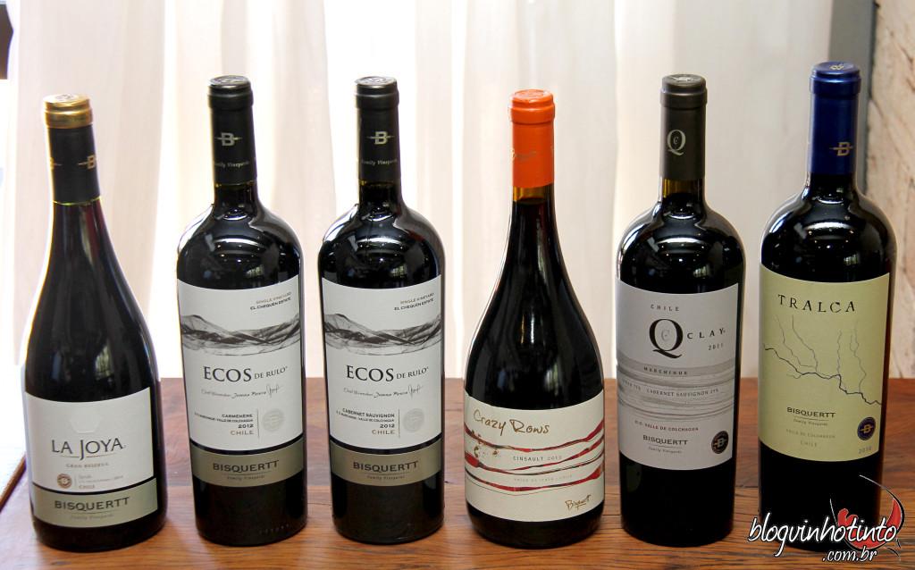 Vinhos tintos da Bisquertt apreciados no evento