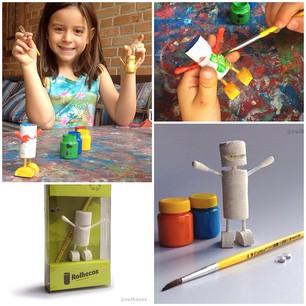A marca pretende agradar também as crianças, por isso criou um kit de pintura com um Rolheco em branco, acompanhado de pincel, tintas e olhinhos para colar.
