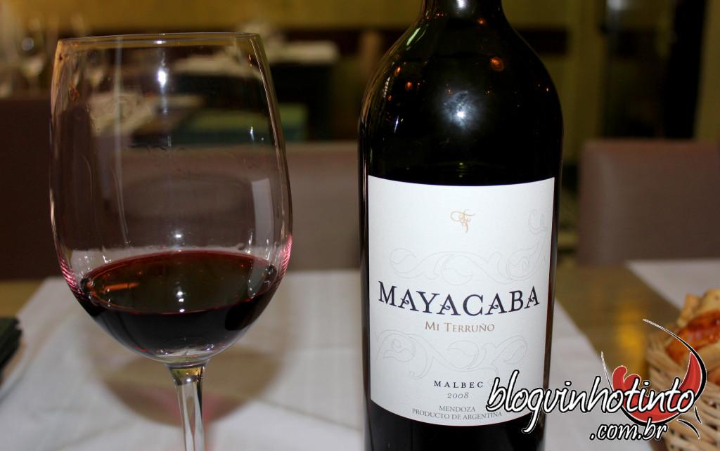 Mayacaba Malbec 2008: vinho complexo, persistente e intenso que harmonizou com os pratos da refeição.