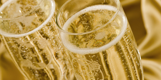 Champagne filled wedding glasses