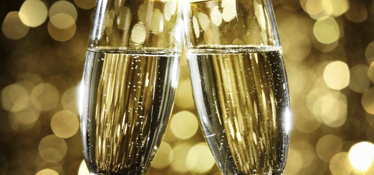Flutes of champagne in holiday setting,Closeup.