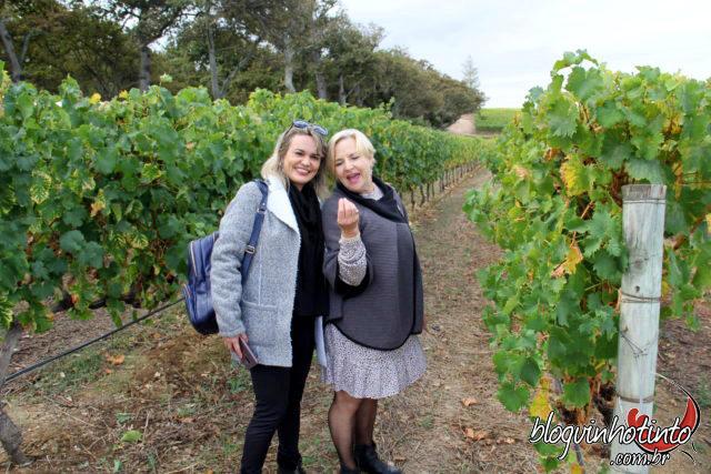 Eu e a simpática e atenciosa, Karen Woodcook, diretora de Marketing da Groot Constantia para conhecer e degustar as uvas secas para produção do famoso Grand Constance