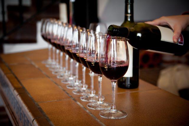 Taças do curso de vinhos