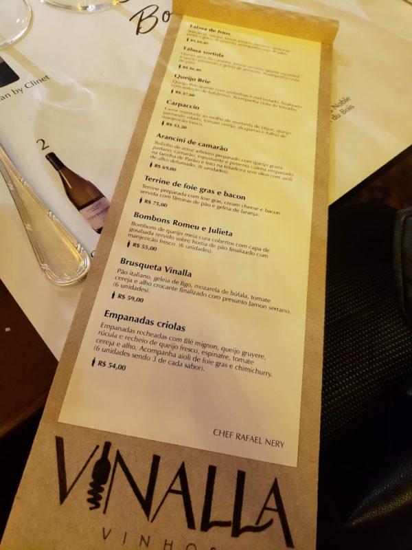 Cardápio de Petiscos Vinalla Vinhos