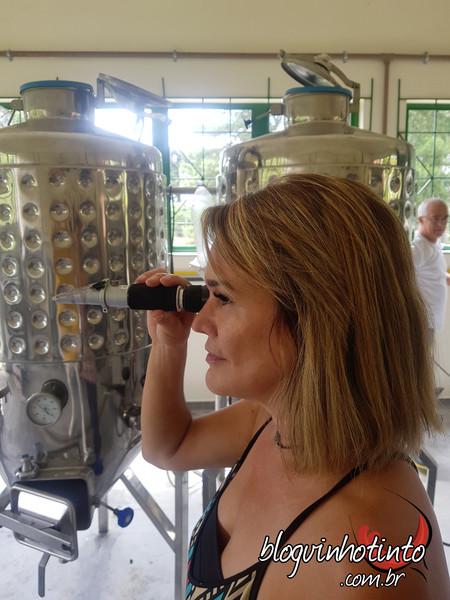Fazendo uso do refratômetro durante a aula prática