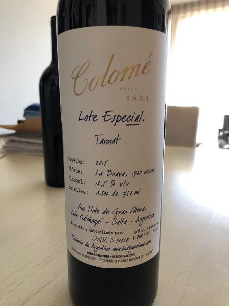 Colomé Lote Especial da Argentina único vinho da américa do Sul premiado com Best in Show