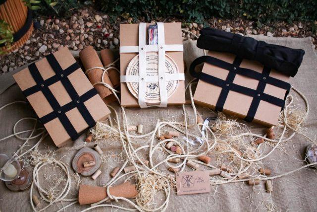 Boxes Vitruvino com caixa mdf e alças feitas à mão em algodão cru